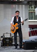 Derek Miller Performing At Yonge Dundas Square In Toronto