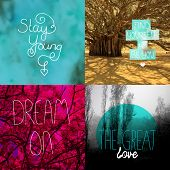 Trendy wall decoration typography quote and abstract photography home decor poster series