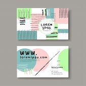 Vector Business Card Design Template Of Hand Drawn