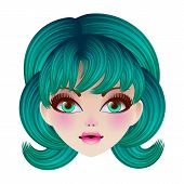 Doll Face. Vector Illustration.
