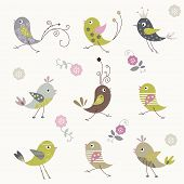 Cartoon bird background design