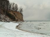 Baltic Sea Gdynia, Cliff In Orlowo Poland. Winter Scenery