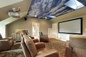 stock photo of home theater  - Theater in luxury home with ceiling design - JPG