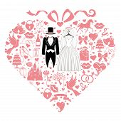 Hearts Composition. Design With Wedding Dress
