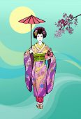 image of geisha  - Japanese girl geisha with umbrella on a background of the Sun and branches of sakura - JPG