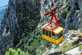stock photo of ropeway  - Ropeway in Yalta leading to the top of Ai-Petri mountain Crimea Russia