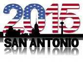 San Antonio skyline 2015 flag text illustration