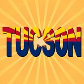 Tucson flag text with sunburst illustration