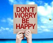 Don't Worry Be Happy card with a beach on background
