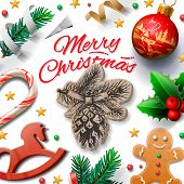 Merry Christmas festive background with gingerbread men and Christmas decoration, vector illustratio