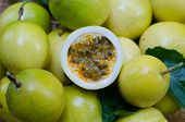 image of passion fruit  - Passion fruits on ripe passion fruit bacground - JPG