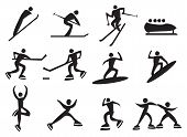 image of luge  - Icon of silhouettes man enjoying the winter sports - JPG