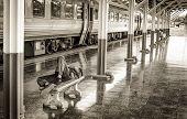 Man Sleep In Passenger Platform At  The Railway Station