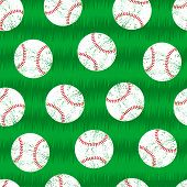 Baseballs On Grass Seamless Pattern