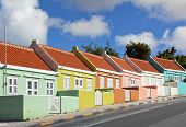 Row of houses painted in vibrant colors at Punda district of Willemstad, Curacao