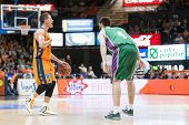 VALENCIA, SPAIN - NOVEMBER 23:  Nedovic (L) Markovic (R) during Spanish League game between Valencia Basket Club and Unicaja Malaga at Fonteta Stadium on November 23, 2014 in Valencia