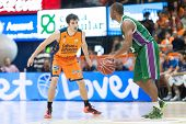 VALENCIA, SPAIN - NOVEMBER 23:  Vives (L) Granger (R) during Spanish League game between Valencia Basket Club and Unicaja Malaga at Fonteta Stadium on November 23, 2014 in Valencia