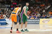 VALENCIA, SPAIN - NOVEMBER 23:  Vives (L) Markovic (R) during Spanish League game between Valencia Basket Club and Unicaja Malaga at Fonteta Stadium on November 23, 2014 in Valencia