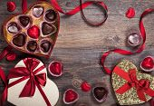 stock photo of valentine candy  - Gift boxes of gourmet chocolates for Valentine - JPG