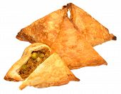 foto of samosa  - Spicy lamb and vegetable samosas isolated on a white background - JPG