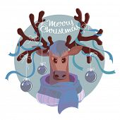 Christmas card with reindeer in scarf and decorated antlers