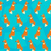 Abstract Geometric Vector Seamless Pattern Backround With Funny Fox