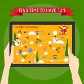 Vector Illustration Concept Of Hands Holding  Tablet And Pointing On A Screen With Winter Holiday Ga