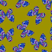 Seamless Pattern Background With Bright Colored Decorative Butterflies
