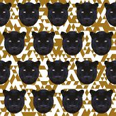 Polygonal Abstract Geometric Panther Seamless Pattern Background