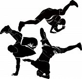 foto of break-dance  - breakdance silhouette break dance acrobat collection vector - JPG