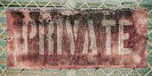 picture of chain link fence  - Retro Filtered Photo Of Rusty Grungy Old Private Property Sign On Chain Link Fence - JPG