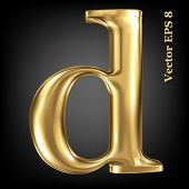 Golden shining metallic 3D symbol lowercase letter d, vector EPS8
