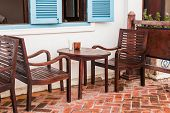 Old Wooden Chair With Wooden Table At Home