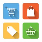 Flat Shopping Icons. Vector Illustration