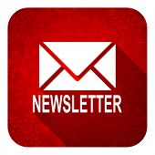 newsletter flat icon, christmas button