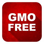 gmo free flat icon, christmas button, no gmo sign