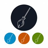 Icon broom , vector illustration