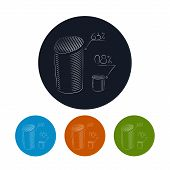 Icon chart as cylinders  with percent , vector illustration