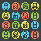 Locks silhouette icons set