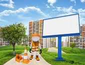 Three-dimensional worker standing on road running through green hills. Green tree and billbord besid