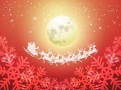 Santa driving his sleigh on a moonlit night
