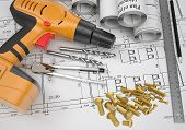 Electric screwdriver, fastening hardware, borers, some draftsman's instruments, scrolled drafts, arc