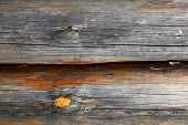 foto of log fence  - The invoice and texture of the wooden logs processed for construction - JPG