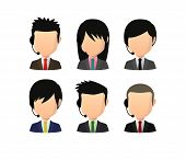 Set Of Asian Male Faceless Avatars With Various Hair Styles Wearing Headset