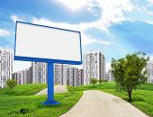 Blank billboard and tree by road running through green hills leading toward city, I