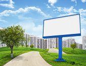 Blank billboard and tree by road running through green hills leading toward city, II