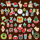 Set Of Christmas Flat Stickers