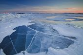 Beautiful Sunset On Icy Lake Baikal
