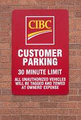 Cibc Customer Parking Sign