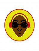 Afroamerican man with headphones